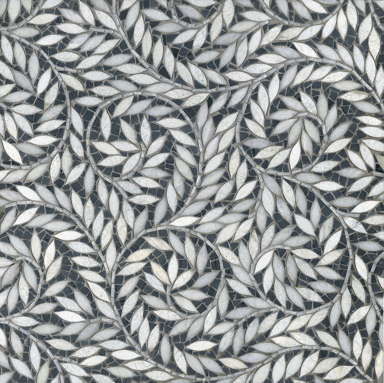 Jacqueline Vine with Cosmos is shown in water jet cut Lettuce Ming polished leaves with hand cut  Bardiglio honed marble Cosmos background.  This design is part of the Silk Road Collection by Sara Baldwin for New Ravenna Mosaics.