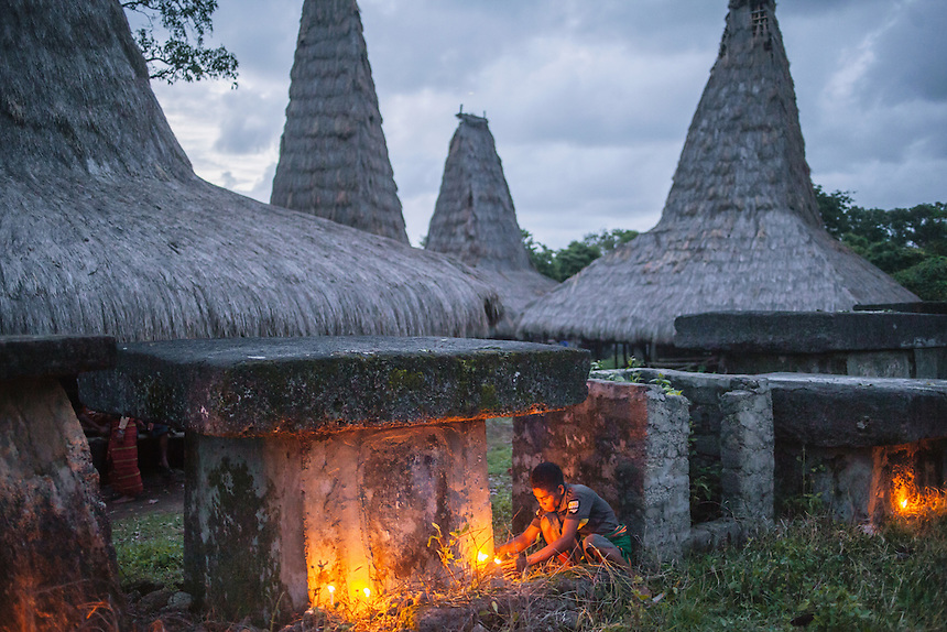 A Sumbanese man light and set the candles around the megalith tomb of his ancestor in Wainyapu, Kodi. For many of the the Sumbanese, who still believe in the ancient animism called Marapu, the day around Pasola is considered holy. And many of them came from faraway village in Sumba to watch Pasola. Pasola is an ancient tradition from the Indonesian island of Sumba. Categorized as both extreme traditional sport and ritual, Pasola is an annual mock horse warfare performed in response to the harvesting season. In the battelfield, the Pasola warriors use blunt spears as their weapon. However, fatal accident still do occurs.