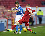Aberdeen v St Johnstone&hellip;10.12.16     Pittodrie    SPFL<br />Richie Foster is closed down by Jonny Hayes<br />Picture by Graeme Hart.<br />Copyright Perthshire Picture Agency<br />Tel: 01738 623350  Mobile: 07990 594431