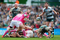 Julien Dupuy of Stade Francais passes the ball. European Rugby Champions Cup quarter final, between Leicester Tigers and Stade Francais on April 10, 2016 at Welford Road in Leicester, England. Photo by: Patrick Khachfe / JMP