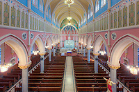 The beautiful interior of St. Bridget's Church, one of the churches in the Parish of the Resurrection, in Jersey City, New Jersey