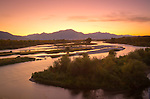 Idaho, Eastern, Swan Valley. South Fork of the Snake River in the pre-dawn light of an autumn morning.