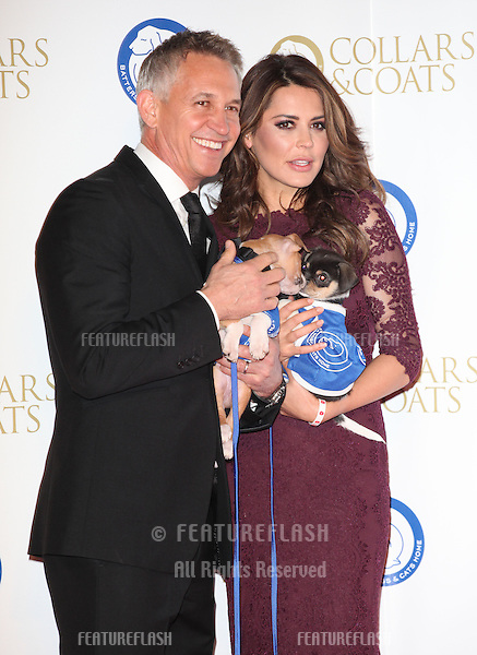 Gary and Danielle Lineker arriving for the Collars And Coats Ball, at Battersea Evolution, London. 07/11/2013 Picture by: Alexandra Glen / Featureflash