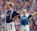 Paul Gascoigne celebrates his goal to the Copland Road stand with a thrust out chest