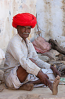 Indian man in Narlai village in Rajasthan, Northern India