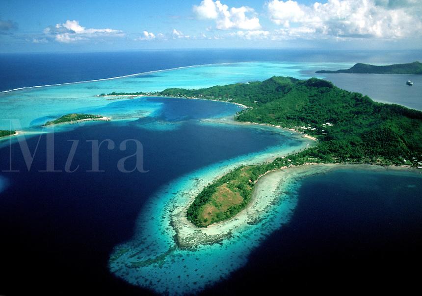 Aerial view of the Beautiful Islands. Bora Bora, Tahiti.