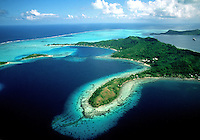 Aerial view of the Beautiful Islands. Bora Bora, Tahiti.