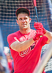 6 September 2014: Washington Nationals outfielder Bryce Harper steps into the batting cage prior to a game against the Philadelphia Phillies at Nationals Park in Washington, DC. The Nationals fell to the Phillies 3-1 in the second game of their 3-game series. Mandatory Credit: Ed Wolfstein Photo *** RAW (NEF) Image File Available ***