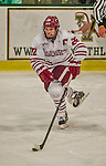 24 November 2013: University of Massachusetts Minutemen Forward Troy Power, a Redshirt Junior from Camarillo, CA, in action against the University of Vermont Catamounts at Gutterson Fieldhouse in Burlington, Vermont. The Cats shut out the Minutemen 2-0 to sweep the 2-game home-and-away weekend Hockey East Series. Mandatory Credit: Ed Wolfstein Photo *** RAW (NEF) Image File Available ***