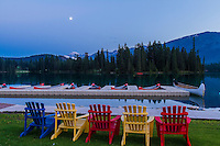 Gibbous Moon over Lac Beauvert, at Jasper Park Lodge, Jasper National Park, Alberta, Canada. Taken July 28, 2012 with Canon 7D and 16-35mm lens at ISO 100, f/8 and metered. Taken in twilight. Snow-covered peak is Mt. Edith Cavell.