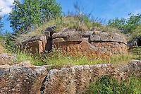 Etruscan circular Tumulus Tomb of the Necropoli della Banditaccia, Cerveteri, Italy. 6th century BC,  A UNESCO World Heritage Site