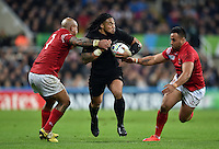 Ma'a Nonu of New Zealand takes on the Tonga defence. Rugby World Cup Pool C match between New Zealand and Tonga on October 9, 2015 at St James' Park in Newcastle, England. Photo by: Patrick Khachfe / Onside Images