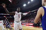 03 November 2016: NC State's Abdul-Malik Abu (0) guards an inbounds pass. The North Carolina State University Wolfpack hosted the Lynn University Fighting Knights at PNC Arena in Raleigh, North Carolina in a 2016-17 NCAA Division I Men's Basketball exhibition game. NC State won the game 100-66.