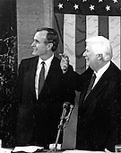 United States Vice President George H.W. Bush, left, and the Speaker of the US House of Representatives Thomas P. &quot;Tip&quot; O'Neill (Democrat of Massachusetts), right, shortly before the arrival of US President Ronald Reagan who is scheduled to deliver his State of the Union Address to a Joint Session of the US Congress in the US Capitol in Washington, DC on February 18, 1981.  In the speech, Reagan detailed his plan to cut federal spending.<br /> Credit: Arnie Sachs / CNP
