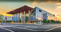 Long Beach; CA; City; Courthouse; building; Sunset; Dusk; Architectural; Glass; Office Building; Governor George Deukmejian Court House