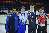 SHORTTRACK: HEERENVEEN: IJsstadion Thialf, 30-01-2015, StarClass 5 (NC-2) Europa Cup, Jeugdwedstrijd (t/m 16 jaar), Podium Boys Junior C 500m, Sjinkie Knegt (European Champion), Bram STEENAART (#137), Nathan JANSEN (#140), Pietro MARINELLI (#106 | ITA), ©foto Martin de Jong