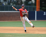 Mississippi's Kevin Mort (6) throws to first for an out vs. St. John's during an NCAA Regional game at Davenport Field in Charlottesville, Va. on Sunday, June 6, 2010.