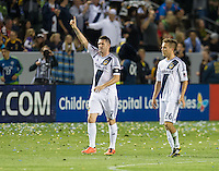 CARSON, CA - May 26, 2012: LA Galaxy forward Robbie Keane (7) celebrates one of his three goals during the LA Galaxy vs Seattle Sounders match at the Home Depot Center in Carson, California. Final score, LA Galaxy 4, Seattle Sounders 0.