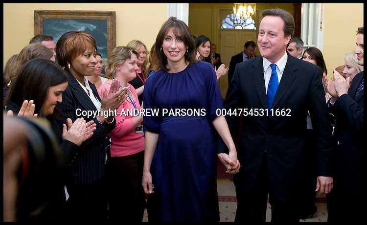 The Prime Minister David Cameron arrives inside No10 as the new PM, Tuesday May 11, 2010. Photo By Andrew Parsons