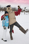 Mascot in Fish Costume R&auml;ndur R&auml;&auml;bis  Embracing Young Woman, Tartu County, Estonia