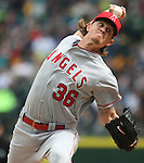 Los Angeles Angels  starting pitcher Jered Weaver pitches to Seattle Mariners'  Robinson Cano in the third inning of  season home opener April 6, 2015 at Safeco Field in Seattle.  The Mariners beat the Angels 4-1.      ©2015. Jim Bryant Photo. ALL RIGHTS RESERVED.