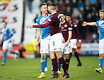 Hearts v St Johnstone&hellip;05.11.16  Tynecastle   SPFL<br />Steven Anderson and Callum Paterson square-up to each other<br />Picture by Graeme Hart.<br />Copyright Perthshire Picture Agency<br />Tel: 01738 623350  Mobile: 07990 594431