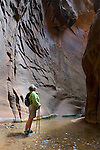 Non technical Canyoneering in Orderville Canyon, Zion National Park Utah.