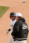 Vale's Shadd Samio and first base coach Rick Bates during the game against New Plymouth on April 28, 2011. Samio went 2 for 3 with three RBI's and a run in Vale's 8-3 win.