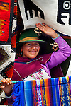 Saquisili Market, Salasaca Indian, Expert Weavers Known For Their Exquisite Tapestries, Specialize In Andean Textile Art, Saquisili, Ecuador, Cotopaxi Province, Andean Native American
