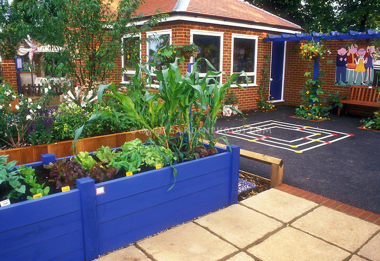 School Garden With Raised Beds Plant Flower Stock
