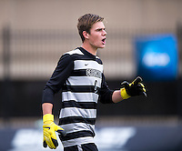 Connor Sparrow (0) of Creighton yells to his teammates during the game at Shaw Field on the campus of the Georgetown University in Washington, DC.  Georgetown tied Creighton, 0-0, in double overtime.