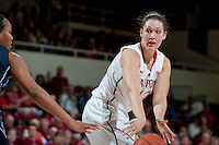 STANFORD, CA - NOVEMBER 17: Sarah Boothe looks for a teammate as Stanford hosted Old Dominion University at Maples Pavilion. The Cardinal defeated Big Blue 97-48.
