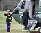 United States President Barack Obama boards Marine One as he departs the South Lawn of the White House in Washington, D.C. for a quick trip to Cleveland, Ohio to discuss the economy..Credit: Ron Sachs / CNP