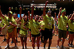 Dancers participate in the final line dance at DanceBlue on March 3, 2012 in Memorial Coliseum.