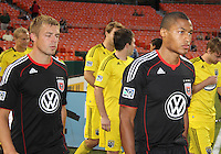 Jordan Graye #16 and Danny Allsopp #9 of D.C. United enter the field during an MLS match against the Columbus Crew at RFK Stadium on September 4 2010, in Washington DC. Columbus won 1-0.