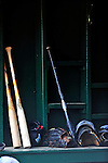 17 June 2008: Vermont Lake Monsters bats lie ready in the dugout prior to the Opening Day game against the Oneonta Tigers at historic Centennial Field in Burlington, Vermont. The Lake Monsters defeated the Tigers 6-4 in the first game of their three-game season opening series in Vermont...Mandatory Credit: Ed Wolfstein Photo