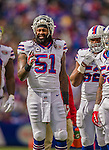 19 October 2014: Buffalo Bills middle linebacker Brandon Spikes waits a time out in the first quarter against the Minnesota Vikings at Ralph Wilson Stadium in Orchard Park, NY. The Bills defeated the Vikings 17-16 in a dramatic, last minute, comeback touchdown drive. Mandatory Credit: Ed Wolfstein Photo *** RAW (NEF) Image File Available ***