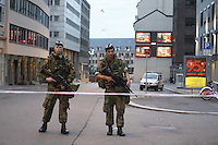 (Oslo July 23, 2011) Soldiers from the King's Guard guard the city centre the day after a shooting spree by a lone gunman who killed over 80 youths.<br />