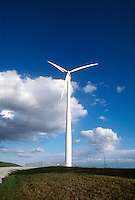 WINDMILL<br /> Wind Turbine Creates Renewable Energy<br /> From eolian power<br /> The tower is 213 ft high.  The 77 ft long blade spins at 28.5 rpm with a capacity of 660 kilowatts. Nebraska.