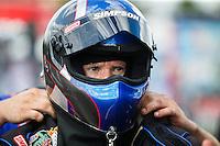 Sep 18, 2016; Concord, NC, USA; NHRA top fuel driver Pat Dakin during the Carolina Nationals at zMax Dragway. Mandatory Credit: Mark J. Rebilas-USA TODAY Sports