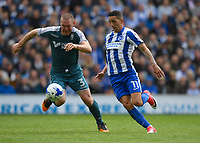 Brighton &amp; Hove Albion's Anthony Knockaert (R) battles with Wigan Athletic's Jake Buxton (L)<br /> <br /> Brighton 2 - 1 Wigan<br /> <br /> Photographer David Horton/CameraSport<br /> <br /> The EFL Sky Bet Championship - Brighton &amp; Hove Albion v Wigan Athletic - Monday 17th April 2017 - American Express Community Stadium - Brighton<br /> <br /> World Copyright &copy; 2017 CameraSport. All rights reserved. 43 Linden Ave. Countesthorpe. Leicester. England. LE8 5PG - Tel: +44 (0) 116 277 4147 - admin@camerasport.com - www.camerasport.com