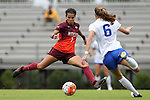 04 October 2015: Virginia Tech's Laila Gray (7) and Duke's Lizzy Raben (6) challenge for the ball. The Duke University Blue Devils hosted the Virginia Tech Hokies at Koskinen Stadium in Durham, North Carolina in a 2015 NCAA Division I Women's Soccer match. Virginia Tech won the game 4-2.