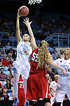 21 March 2015: North Carolina's Latifah Coleman (2) shoots over Liberty's Ashley Rininger (55). The University of North Carolina Tar Heels hosted the Liberty University Flames at Carmichael Arena in Chapel Hill, North Carolina in a 2014-15 NCAA Division I Women's Basketball Tournament first round game.
