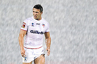 Picture by Alex Whitehead/SWpix.com - 19/10/2013 - Rugby League - Rugby League World Cup Warm-up Friendly Match - England v Italy - Salford City Stadium, Eccles, England - England's Sam Burgess during a torrential downpour of rain.