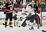 27 January 2012: University of Vermont Catamount forward Sebastian Stalberg, a Junior from Gothenburg, Sweden in action against the Northeastern University Huskies at Gutterson Fieldhouse in Burlington, Vermont. The Catamounts fell to the Huskies 8-3 in the first game of their 2-game Hockey East weekend series. Mandatory Credit: Ed Wolfstein Photo