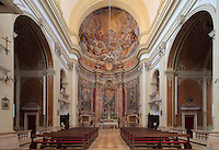 Nave and apse of St Ignatius Church or the Jesuit Church, built 1699-1703 by Ignazio Pozzo, with Baroque frescoes with scenes from the life of St Ignatius of Loyola painted by Gaetano Garcia, Old Town, Dubrovnik, Croatia. The city developed as an important port in the 15th and 16th centuries and has had a multicultural history, allied to the Romans, Ostrogoths, Byzantines, Ancona, Hungary and the Ottomans. In 1979 the city was listed as a UNESCO World Heritage Site. Picture by Manuel Cohen