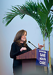 "Westbury, New York, USA. January 15, 2017. Representative KATHLEEN RICE (Democrat - 4th Congressional District) is speaking at the ""Our First Stand"" Rally against Republicans repealing the Affordable Care Act, ACA, taking millions of people off health insurance, making massive cuts to Medicaid, and defunding Planned Parenthood. Hosts were Reps. T. Suozzi (Dem. - 3rd Congress. Dist.) and Rice. It was one of dozens of nationwide Bernie Sanders' rallies for health care that Sunday."