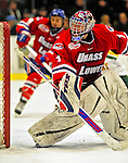 20 February 2009: University of Massachusetts Lowell River Hawks' goaltender Nevin Hamilton, a Junior from Ashland, MA, in action against the University of Vermont Catamounts at Gutterson Fieldhouse in Burlington, Vermont. The teams battled to a 3-3 tie. Mandatory Photo Credit: Ed Wolfstein Photo
