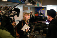 A television reporter interviews students after listening to Republican presidential candidate Ron Paul at the Manchester Boys and Girls Club in Manchester, New Hampshire, USA. Paul held a small question and answer session with high school students at the Club's Straight A Academy. Paul is seeking the Republican nomination for president.  At this meeting, Paul opened himself up to any questions the students had.  Straight A Academy is a small, accredited private school that seeks to return to traditional pedagogical methods.