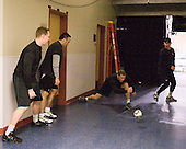 The officials played a variation of handball to warmup before the game. - The University of Notre Dame Fighting Irish defeated the University of New Hampshire Wildcats 2-1 in the NCAA Northeast Regional Final on Sunday, March 27, 2011, at Verizon Wireless Arena in Manchester, New Hampshire.